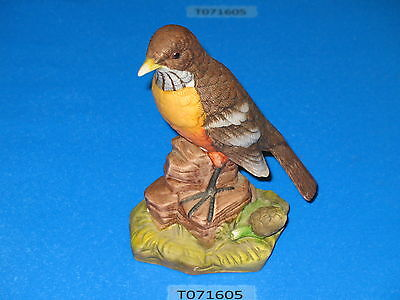 J Byron Royal Crown American Robin perched on rock porcelain figurine decoration
