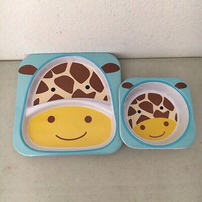 Skip Hop Baby Zoo Little Kid and Toddler Feeding Melamine Divided Plate and Bowl