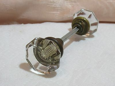 Vintage Pretty Clear 8 Sided Glass Door Knob Set, Old House Salvage
