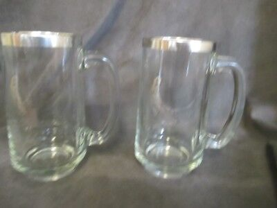 C3 Marshall Islands Souvenir Silver Overlay Glass Beer Mugs