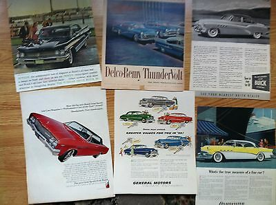 """100 1950s  BUICK Classic Car MAGAZINE AD 10x14"""" SIZE  15c ea LOT #3 many 2 PAGE"""