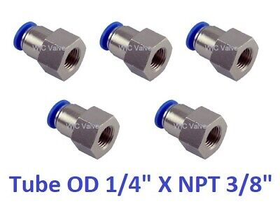 Female Connector Push In Fitting Tube OD 1/4 X NPT 3/8 One Touch Fitting 5pcs