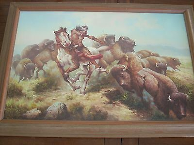 Troy Denton signed Western oil painting - The Wild Stampede