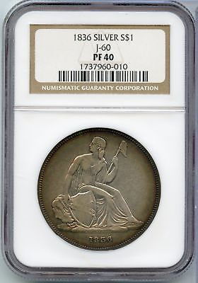 1836 Gobrecht Proof Silver Dollar J-60 S$1 NGC PF 40 Certified Coin - JX567