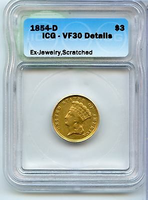1854-D Indian Princess Head $3 Gold Piece Coin ICG VF 30 Details - JX573