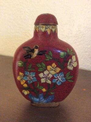 Antique Chinese Hand Painted Cloisonné  Snuff Bottle