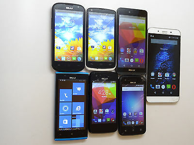 Lot of 7 BLU Dual Sims GSM Unlocked Smartphones Mixed Models Good LCD AS-IS !