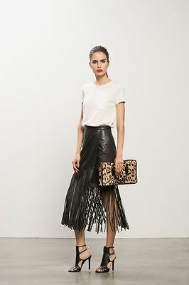 WITCHERY LEATHER FRINGE SKIRT in Black RRP$399 size 12