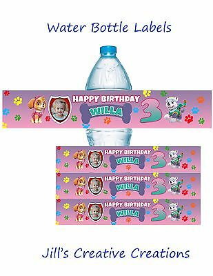 Paw Patrol Birthday, Water Bottle Labels, Paw Patrol, Skye, Birthday