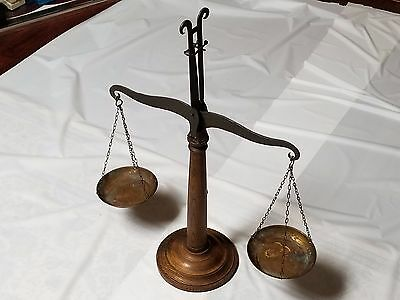 Antique Balance Scales Of Justice - Wood Upright With Brass Pans -
