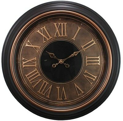 23 in. Wall Clock Raised Numbers 2 in. Antiqued Bronze with Brushed Copper Bezel