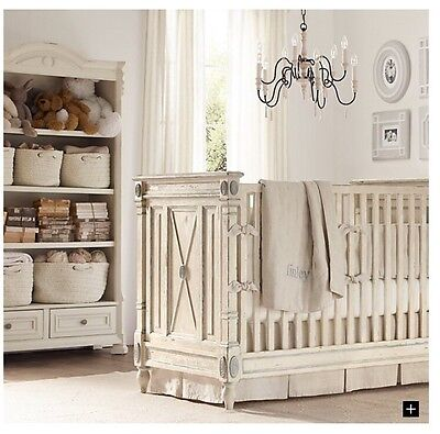 New W/tags Restoration Hardware Baby&Child Washed Organic Linen Crib Skirt Ivory