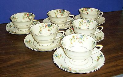 Lot 6 Heinrich Selb Bavaria Germany Meadow Cups And Saucers Never Used