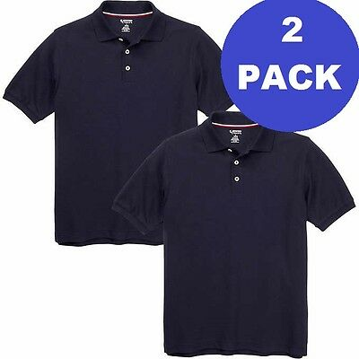 2 Pack Boys Large 10 12 Navy Blue French Toast School Uniform Polo Shirt Pique