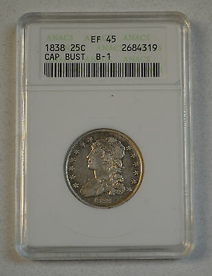 1838 B-1 Capped Bust Silver Quarter 25c Coin ANACS EF45 XF45 Extra Fine !