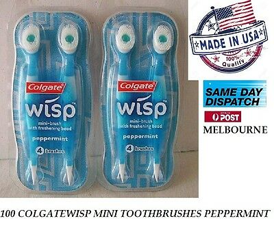 100 COLGATE  WISP MINI TOOTHBRUSHES PEPPERMINT for Travel Work Don't Need  Water
