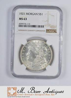 LAST YEAR - MS-63 1921 Morgan Silver Dollar - GRADED By NGC *024