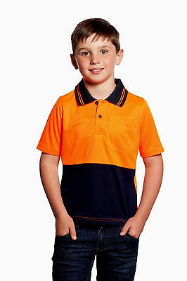NEW KIDS WORK POLO  Hi Vis Two Tone Short  Sleeve Shirt