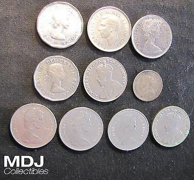 Lot of 10 Canada 5 Cents Coins: 1920 Silver, 1927, 1930, 1937 dot, 1953, 1961