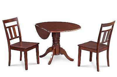 "3 Piece Round Table Dinette Kitchen Dining Room Set W/. 9"" Drop Leaf"