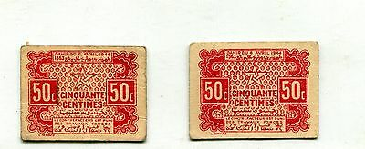 Morocco 50 Cents Lot Of 2 Cardboard Notes Vf 1944 Nr 5.25