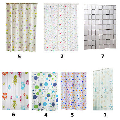 AU 12Hooks Waterproof Bathroom Liners Shower Curtain Sets Plastic Modern Curtain