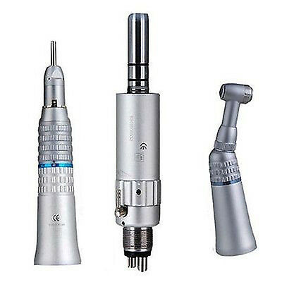 Dental Fiber Optic Handpiece Straight+Contra Angle Air Motor Slow Speed 4H top