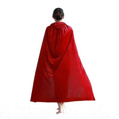 AU Red Hooded Cloak Cape Wedding Red Cloak Medieval Costume Witch Vampire Robe