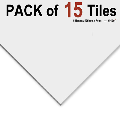 SUSPENDED VINYL LAMINATED WHITE CEILING TILES 595x595 24/15 GRID Pack of 6 Tiles