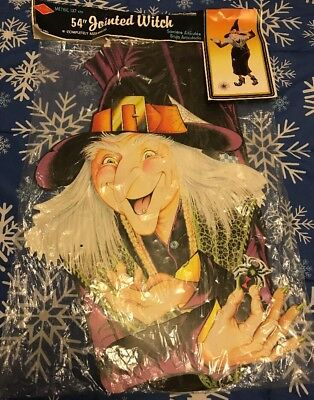 "1980 Beistle 54"" Jointed Witch Halloween Decoration Sealed"
