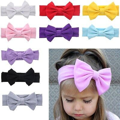 Baby Girl Kids Cotton Bow Hairband Headband Stretch Turban Knot Head Wrap Bow/EN