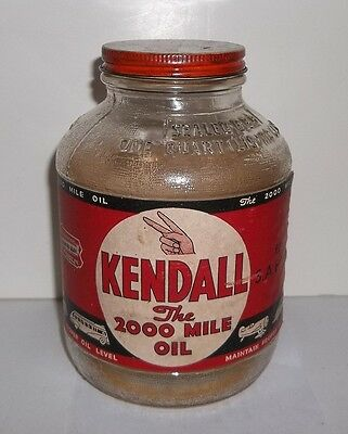 Vintage Kendall Motor Oil One Quart Glass Bottle With Paper Label And Cap