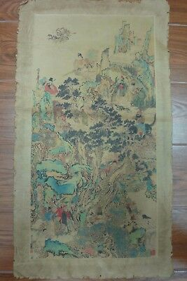 Large Fine Old Chinese Hand Painting Landscape and Figures Marks QA155