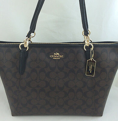 New Authentic COACH F58318 AVA Signature Tote Handbag Purse Shoulder Bag Brown