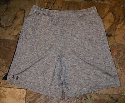 Mens' UNDER ARMOUR Gray Black Trim Loose Athletic Shorts Size XL