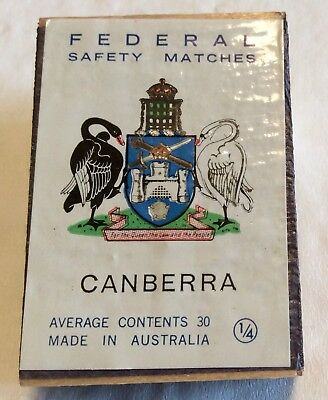 Federal Safety Matchbox. Canberra Coat Of Arms. Wooden Matchbox. Unused.