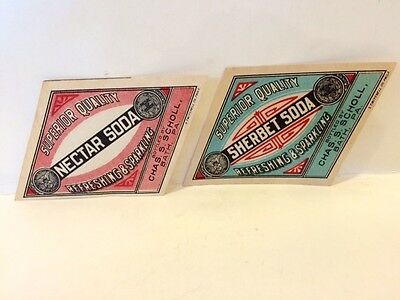 2 Old Unused Charles Scholl Soda Bottle Labels Bath PA Northampton County