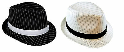 Fedora Gangster Hat Mens 1920s 20s Trilby Hat Black Or White Pinstripe