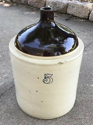 Vintage 5 Gallon Stoneware Crock Whiskey Moonshine Jug Glazed