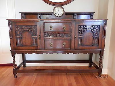 1920 Oak sideboard, Refectort table and Six Chairs