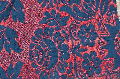 Americana Red Blue Woven Coverlet Quilt Piece Repurpose Stack