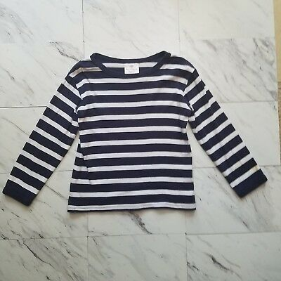 Hanna Andersson Kids' Navy White Striped Long Sleeve Shirt Size 100