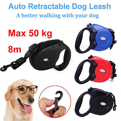 Max 50KG 8 M Large Dog Lead Leash Strong Retractable Extendable Lockable Rope UK