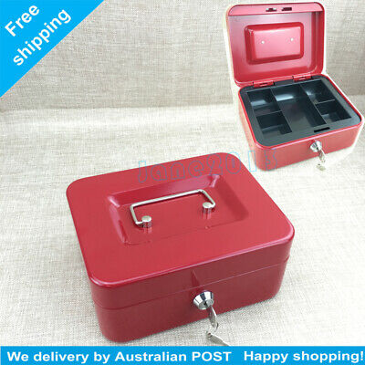 M Portable Sturdy Metal Money Box Cash Box with Coin Tray Petty Cash AU STOCK