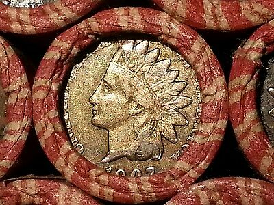 One Lincoln Wheat Cent Penny Roll  Indian Head Both Ends!  1909-1958        T02