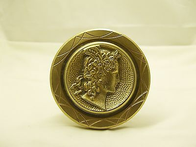 Vintage Greece Solid Brass Large Door Handle Knob Ancient Greek Woman Profile