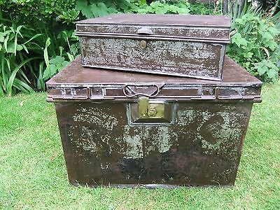Vintage Metal Tin Steamer Trunks Chest Coffee Table Storage Strong Deeds Box, LP
