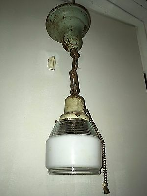 Antique Pendant Light Fixture 1930s Art Deco Chandelier Shade VTG Ceiling Old