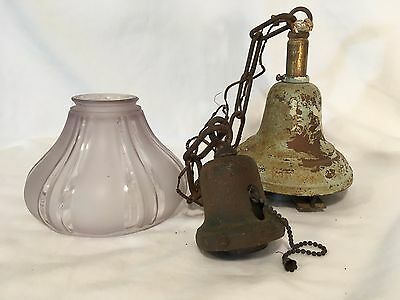 Antique Pendant Light Fixture 1930s Art Deco Chandelier Shade VTG Industrial Old