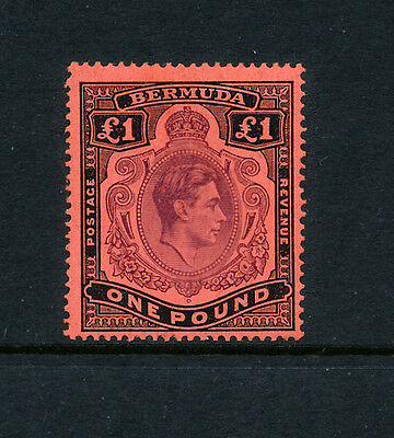 Bermuda 1938 -1943 KGV1  £1 Perf14 Pale purple & black/pale red SG121b MNH